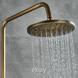 Antique Brass Bath Mixer Shower Faucet Set System w 8 in Rainfall Shower Head UK