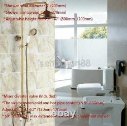 Antique Brass Bathroom 8 Round Rain Shower Faucet Set Bath Tub Mixer Tap frs147