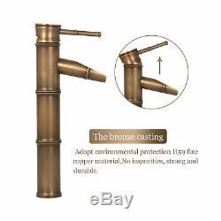 Antique Brass Bathroom Bamboo Basin Faucet Vessel Sink Mixer Tap Drain Hose Set