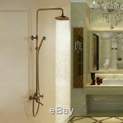 Antique Brass Bathroom Shower Faucet Set 8 Rain Head Hand Held Spray Mixer Taps
