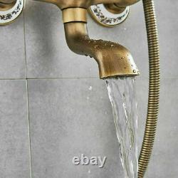 Antique Brass Bathroom Shower Faucet Set 8'' Rainfall Shower Head Shower Fixture