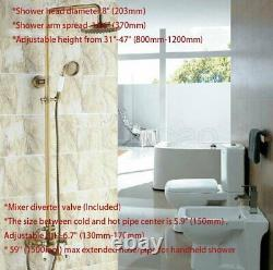 Antique Brass Bathroom Shower Faucet Set 8-inch Rainfall Hand Spray Tub Tap
