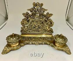 Antique Brass Desk Companion Ink Well Set circa 1910