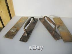Antique Brass Door Handles Pulls Set Finger Push Plates Shop Vintage Old 12