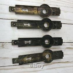 Antique Brass Door Knob Set Brass Art Deco Back Plates Reclaimed Salvaged Lot