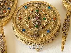 Antique Brass Filigree Jeweled Gem Encrusted Lady Dresser Vanity Perfume 5Pc Set