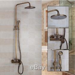 Antique Brass Rain Bathroom Shower Faucet Set Combo Faucet Hand Shower Mixer Tap
