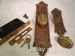 Antique Brass Rose Door Knob Set Cylinder Thumb Turn with keys #781