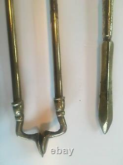 Antique Brass Set of 3 Fire Irons Poker Tongs and Shovel