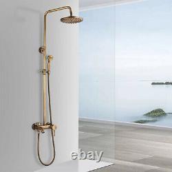 Antique Brass Shower Faucet Set 8'' Rainfall Shower Dual Handle Mixer Tap