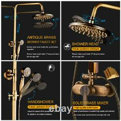 Antique Brass Shower Faucet Set Bathroom Mixer Tap Handheld Sprayer Rain Head UK