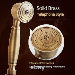 Antique Brass Shower Faucet Set Tap Handheld Shower Rain 8OverHead Wall Mounted
