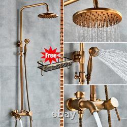 Antique Brass Shower Faucet Taps Set Rainfall Bathtub Shower System Mixer Tap UK