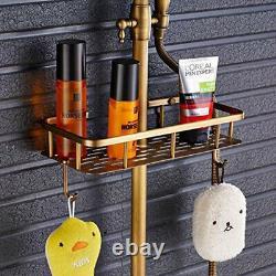Antique Brass Shower Faucets Set 8'' Rainfall Shower Commodity Shelf Dual Handle