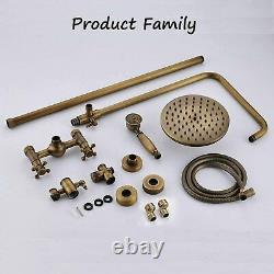 Antique Brass Shower Set Bathroom Mixer Tap 8Round Head Top Spray WithShower Hand