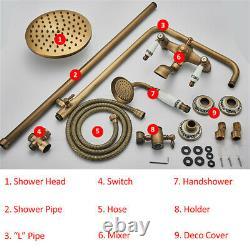 Antique Brass Shower Taps 3-Way 8 Rainfall Shower Set Shower System Bath Mixer