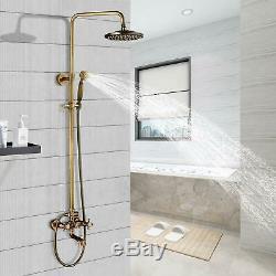 Antique Brass Tub Shower Fixture 8-inch Rainfall Shower Head Sets Hand Shower
