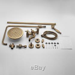 Antique Brass Vintage Wall Mounted Shower Head &Handshower Set Tub Mixer Faucet