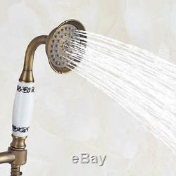 Antique Brass Wall Mount Shower Combo Set with 8'' Rain Head and Handheld Faucet