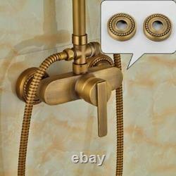 Antique Brass Wall Mounted Bathroom Shower Mixer Tap Set Rainfall Shower Handhel