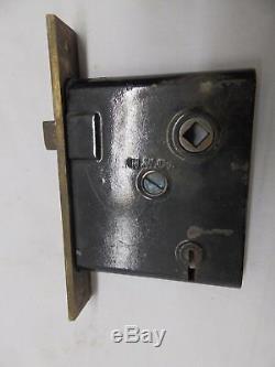 Antique Bronze Brass Door Knob Set Rosettes Mortice Eastlake Old Vintage 4152-15