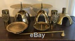 Antique Catholic Altar Brass Candle Stick Holders Followers Snuffer Votive Set
