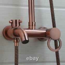 Antique Copper Rainfall Shower Head/Handspray Faucet Set Mixer Tap Wall Mount