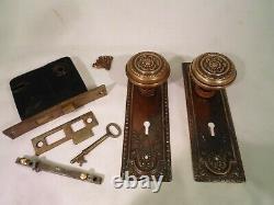Antique Corbin Brass Door Knob Set Mortise Lock with Key #818