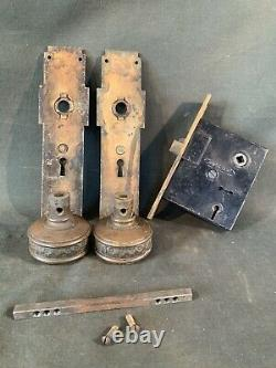 Antique Corbin Cushion Door Hardware Set Vintage Knobs, Back Plates & Lock