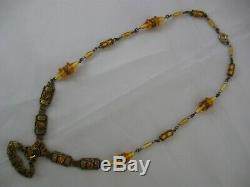Antique Czech Necklace, 1920's Gilt Brass & Glass Bezel Set Citrine Art Deco