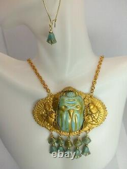 Antique Czech glass turquoise scarab solid golden brass necklace earrings set