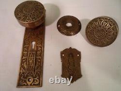 Antique Door Knob Set R&E Damascene thumb turn Double key Mortise Lock #800