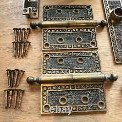 Antique Double Door Hardware Set Ornate Brass Knobs Plates Lockers Latch