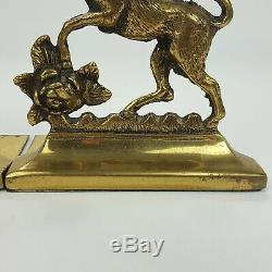 Antique English Brass Rampant Lion & Unicorn Bookends Made In England Pair Set