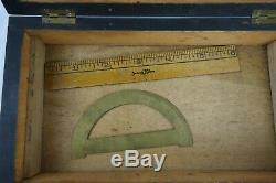 Antique English Drafting Set Bone & Brass Tools Mahogany Box