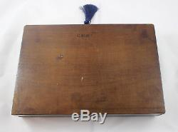 Antique French Drafting Set withWalnut and Brass Boulle Inlay Case