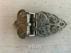 Antique Ice Box Refrigerator Ornate Nickel Brass Latch Set Hinges Vtg 142-20J