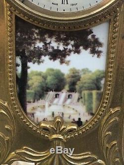 Antique Imperial Italian Blue Porcelain/Brass Mantle Clock Garniture Set Signed