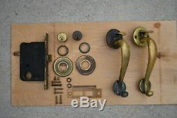 Antique Lockwood Solid Brass Entry Door Thumblatch Handle Set and Mortise lock