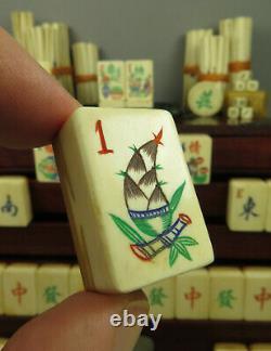 Antique Mahjong Mah Jongg Set Beautiful Bamboo Sprout One Bams & Flower Tiles