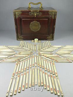 Antique Mahjong Mah Jongg Set Beautiful Ornate Brass Mounted Lacquered Case
