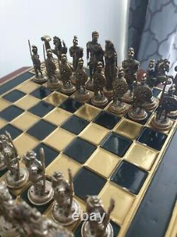 Antique Metal Brass Roman Vs Greek Chess Set And Board