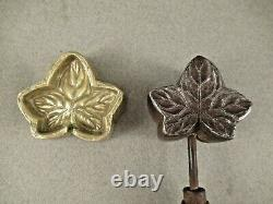 Antique Millinery Leaf Mold Two Piece Set Iron Tool, Brass Mold