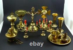 Antique Miniature Child Altar Set Brass Chalice Monstrance Ciborium Crucifix