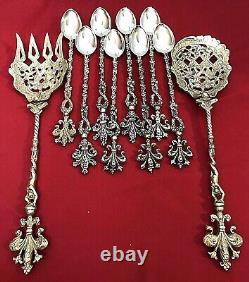 Antique Montagnani Italy Hand Crafted Brass Mermaid Servers & Spoons 10 PC Set