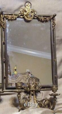 Antique Old Pair of Two 2 Brass Bronze Mirror Wall Sconces Cherubs French Set