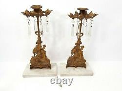 Antique Ornate Bronze Crystal Candelabra Candle Holder Brass Set