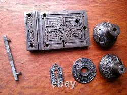 Antique Ornate Rim / Box Lock, Key, Doorknobs Set Russell & Erwin Pat. 1869