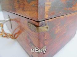 Antique Perfume Bottle Box Casket Victorian Anglo Indian Scent Brass Inlaid Set