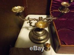 Antique Priest Traveling Communion Sick House Call Set in Wood Box with Brass